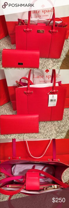 ❤️Kate Spade Elodie Bag & Pim Wallet❤️ ⭐️NWT Kate Spade Elodie Bag & Pim Wallet.. 🔹Crossbody Shoulder Handbag Purse🔹Smooth Leather Exterior In red 🔹KSNY Gold Plated At Top Front Center 🔹Hidden Magnetic Snap Closure 🔹Thin 🔹Dual Leather Handles 🔹Detachable🔹Adjustable Cross-body Strap 🔹Four Protective Metal Feet 🔹Interior Lined With Sweetheart Pink Leather  🔹Interior Zip Pocket Separates Two Other Compartments 🔹Dimensions : 10.5 (L) 9.25 (H) 4 (D) 🔹Wallet is Pim style ,snap closure…