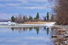 The ice was still along the shoreline in places on Pierce Lake, Boreal Trail, Sakatchewan