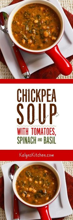 This meatless Chickpea Soup with Spinach, Tomatoes, and Basil is so delicious, especially if you start with soaked dried chickpeas. Use purchased pesto if you don't have fresh basil! This tasty soup is also low-glycemic, gluten-free, and South Beach Diet friendly. [found on KalynsKitchen.com]