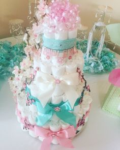 Japanese cherry blossom themed diaper cake by Candy's creations. #diapercake #diapercakes #cherryblossomthemeddiapercake #babyshower #babyshowers #candycreations