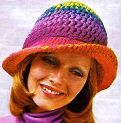 Crocheted Rainbow Hat Pattern