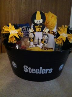 Steelers basket used everyday paper dolls and ribbons and rosettes