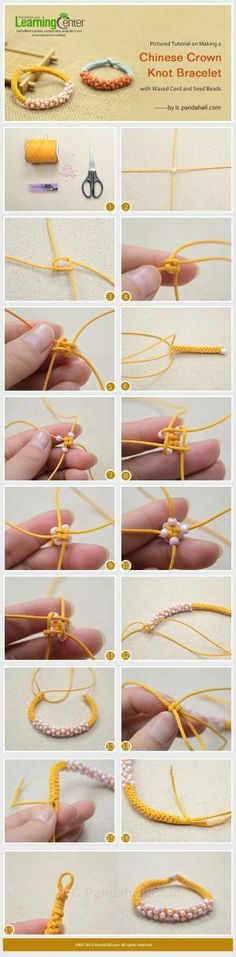 Pictured Tutorial on Making a Chinese Crown Knot Bracelet with Waxed Cord and Seed Beads #scoubidou by RamonaS