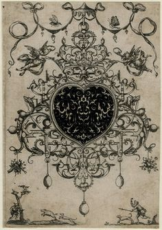 Pendants.  Design for an elaborate pendant; blackwork; bl,  1609 Engraving  © The Trustees of the British Museum