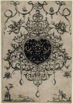 Pendants.  Design for an elaborate pendant; blackwork; bl,  1609 Engraving  © The Trustees of the British Museum