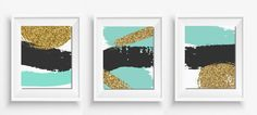 """Three abstract  designs , turquoise gold and black,Modern Art, Modern Print, digital prints,home decor,Three(03) JPEG 8""""x10"""" INCLUDED"""