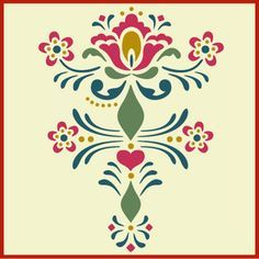 Our Rosemaling Stencil Collection is authentic and inspired by the wonderful folk art of Sweden. We know that if you love this look, you will find our Rosemaling stencils so useful! Rosemaling Pattern 9 is bold and lovely. Folk Embroidery, Embroidery Patterns, Rosemaling Pattern, Stencils, Norwegian Rosemaling, German Folk, Scandinavian Folk Art, Illustration, Stencil Designs