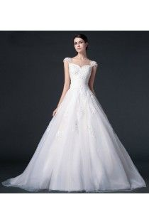 2015 Sweetheart A-line Voile Wedding Dress Features Applique