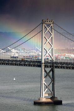 Brainbow (Bay Bridge + Rainbow) by Mathew Grimm