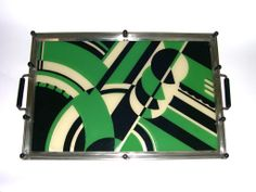 Antique and Vintage Barware - For Sale at - Rare Green Art Deco Jazz Cocktail Tray Art Deco Bar, Art Deco Stil, Art Deco Home, Art Deco Design, Art Nouveau, Bauhaus, Art Deco Furniture, Art Deco Period, Green Art