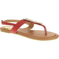 Victoria K. Women's Flower Embellished Sandals, Size: 6, Red