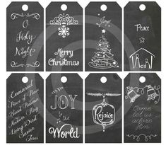 8 different High Resolution digital printable chalkboard gift tags with white Christian Christmas greetings. Celebrate the true meaning of Christmas! INSTANT DIGITAL DOWNLOAD. You can print right after purchase! 8 Tags print out on one 8.5 x 11in (A4) paper. Use these for gifts,