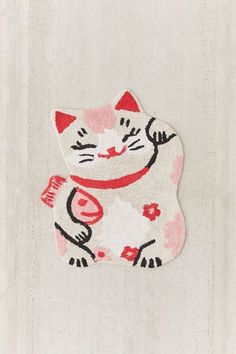 Shop Lucky Cat Bath Mat at Urban Outfitters today. Funky Rugs, Cool Rugs, Kitsch, Cheap Home Decor Online, Cat Bath, Textiles, Punch Needle, Throw Rugs, Accent Colors
