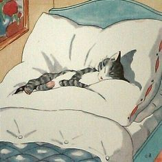 44 ideas for cats bed illustration I Love Cats, Crazy Cats, Cute Cats, Funny Cats, Gatos Cats, Cat Sleeping, Sleeping Drawing, Cat Drawing, Cats And Kittens