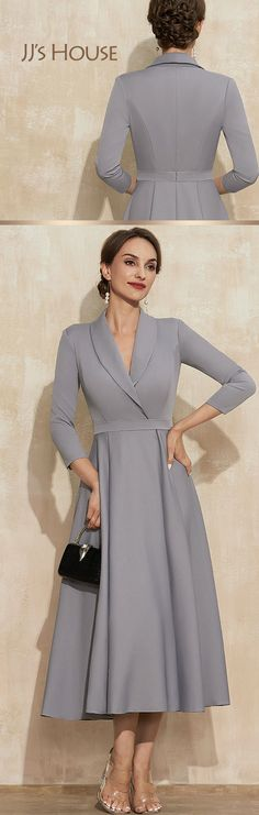 This dress is the epitome and chicness and elegance! Crafted from stretch-crepe, this A-line gown is not only fashionable but also really fancy. Available in 18 colors! Shop yours now!#JJsHouse #JJsHouseOfficial #MotherOfTheBride #MotherOfTheBrideDress #NewArrival #Wedding #MotherOfTheGroom #FormalDress #PartyDress #SpecialOccasion #GreyDress #Elegant #Aline #Vneckline #TeaLength #StretchCrepe Modest Dresses, Ball Dresses, Formal Dresses, Bride Groom Dress, Bride Gowns, A Line Gown, Price List, Classic Elegance, Mother Of The Bride