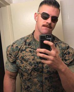 Mustache Styles, Beard No Mustache, Handlebar Mustache, Sexy Military Men, Scruffy Men, Hot Cops, Camo Men, Sexy Beard, Men In Uniform