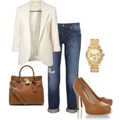 Weekend: White blazer, jeans, tan pumps and bag