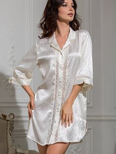 Silk jacquard nightgown Nightshirt Nightdress by MiaDivaLingerie on Etsy