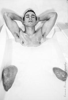 shooting black and white  milkbath sexy man model