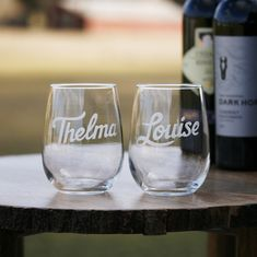 Thelma & Louise wine glass best friend gift set for women. Seeking a best friend gift for your BFF? Does your bestie bring out the rebel in you? Celebrate your friendship with our hand engraved matching Thelma and Louise stemless wine glasses. Perfect gift for your best girlfriend who always makes you laugh, shares in your adventures and is always there to support you through life's ups and downs.