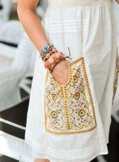 #boho summer fashion, white linen, embroidery, bracelets