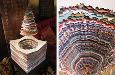 Multicolored Layered Paper Sculptures by Maud Vantours