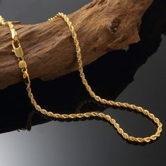 Gold Chains For Men Solid Yellow Gold Filled Rope Chain Necklace Men Women Jewellry - Mens Gold Chain Necklace, Mens Gold Jewelry, Black Hills Gold Jewelry, Gold Jewelry Simple, Men Necklace, Women Jewelry, Chain Necklaces, Jade Jewelry, Gold Chain Design