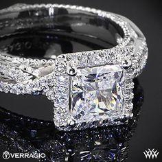 Platinum Verragio Princess Halo Twist Diamond Engagement Ring
