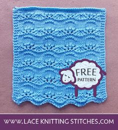 Lace Pattern for all levels of experience, including beginners Lace Knitting Stitches, Lace Knitting Patterns, Baby Knitting, Free Baby Blanket Patterns, Baby Footprints, Knitted Baby Blankets, Knitting Projects, Knitting Ideas, Stitch Design