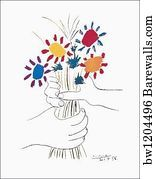 Framed Wall Art Print Hands with Bouquet (Fleurs et Hands With Bouquet Framed Wall Art, Canvas Wall Art, Wall Art Prints, Framed Prints, Pablo Picasso Drawings, Picasso Art, Cheap Art Prints, Print Poster, Bouquet