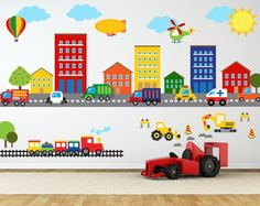 Kids Room Wall Art, Truck Theme Nursery Decor, Name Wall Decal Worried about the decals not sticking? Try our product risk free! Kids Room Wall Decals, Name Wall Decals, Vinyl Wall Art, Kids Stickers, Wall Stickers, Construction Nursery, Kids Bedroom Boys, Kids Rooms, Baby Bedroom