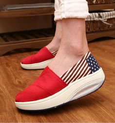 Women's #red canvas #rocker sole shoe flag pattern, canvas upper and lining.