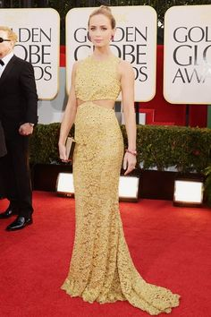 Emily Blunt chose a Michael Kors cut-away dress, Lorraine Schwartz Jewellery and a Salvatore Ferragamo clutch