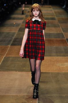 neo grunge styled fashion plaid dress and boots Saint Laurent mix punk and Wednesday Addams for AW13