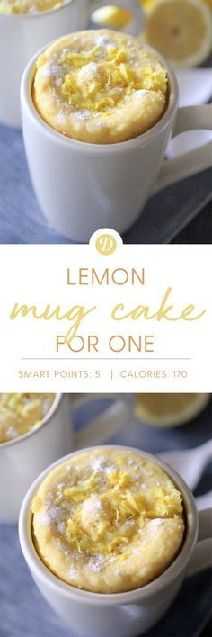 This Lemon Mug Cake for One is moist, flavorful, and bursting with lemon flavors. The best part of all is that it is ready in minutes, and the perfectly portioned snack or treat! Mug Cakes, Cupcake Cakes, Dessert In A Mug, Paleo Dessert, Dessert Recipes, Microwave Mug Recipes, Mug Cake Microwave, Lemon Recipes, Sweet Recipes