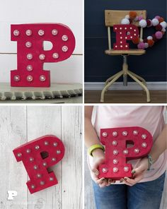 Make Easy Marquee Letters - Pysselbolaget - Fun Easy Crafts for Kids and Parents Fun Crafts For Kids, Diy For Kids, Cardboard Letters, Decoupage Glue, Marquee Letters, Make Your Own, How To Make, You Are Amazing, Masking Tape