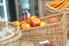 Apples. Carrots. Eat Fresh. Local Produce at the farm shop. Cheddar Woods, Somerset