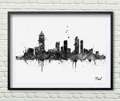 Atlanta skyline city Atlanta Watercolor art print by PaulArtPrint