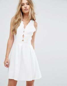 ADELYN RAE SERENA FIT AND FLARE SCALLOP DRESS - WHITE. #adelynrae #cloth #