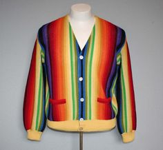 Men's Rainbow Stripe Knit Sweater