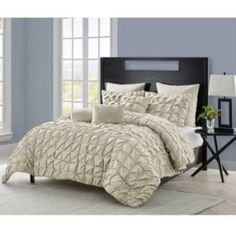 Vcny Maya Pinch Pleat Comforter Set with Euro Shams, Multiple Colors, Brown