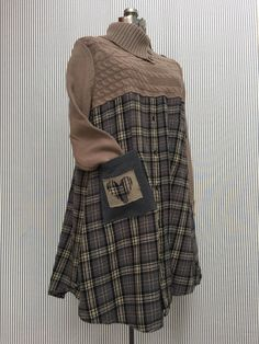 Warm Winter Upcycled Gray, Black, and Taupe Plaid Flannel Cowl Neck Sweater Dress Has cute Button details Shabby Rustic style, Size large 20 across chest 36 long Free hips This Dress looks cute with black leggings and boots