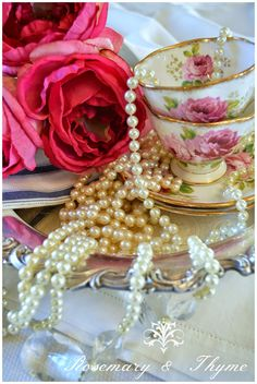 #teacups, #tea, #americanbeauty, #afternoontea, #roses, #antiques, #vintage  http://rosemary-thyme.blogspot.com/2015/01/favorite-blooms.html