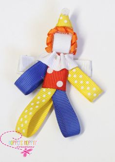 Clown Circus Party Ribbon Sculpture Girl Toddler Hair Bow Hair Clip. #Handmade