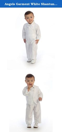 Angels Garment White Shantung Poly Romper Vest Set Baby Boy 0-3M. Your baby boy will look so adorable wearing this shantung poly romper set. Four pieces to make this a complete baptismal outfit: vest, bibbed pants, shirt and bow tie. Made in the USA.