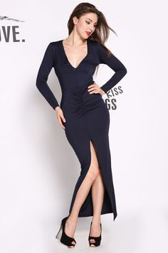 Women's Ruched Plunging Deep-V Neckline Draped Look Maxi Dress