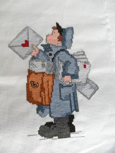 Postman Needlepoint Embroidery Picture by ShoppeAroundTheWorld, $17.00