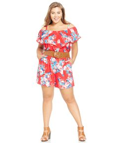 Jessica Simpson Plus Size Off-The-Shoulder Printed Romper - Jumpsuits & Rompers - Plus Sizes - Macy's