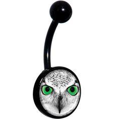 Black White Owl Black Belly Ring