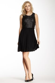 Pleated Sequin and Jersey Dress on HauteLook